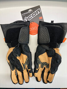 Icon Black Hypersport GP Motorcycle Gloves LARGE - 3301-3559