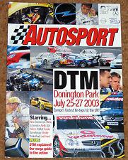 Autosport 2003 Donington Park DTM Guide - Drivers Rated, Menu, Aeillo, Paffet