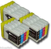 12 x Cartuchos De Inyección De Tinta 3 Sets No-OEM Alternativa Para Brother