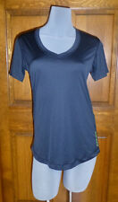 NWT Under Armour Catalyst Black Neon Yellow Heat Gear V-Neck T-Shirt Top Small