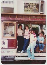 Vintage 80s PHOTO People On San Francisco Trolley Car