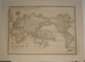 1838 PIERRE LAPIE ANTIQUE COPPER ENGRAVED WORLD MAP ON MERCATOR'S PROJECTION
