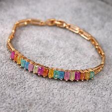 18K Gold Filled Rainbow Gemstone rectangle Zircon Charm Bracelet bangle Cuff