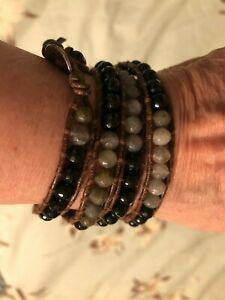 Chan Luu 5 Row Genuine Stone Wrap Bracelet Onyx and Labradorite
