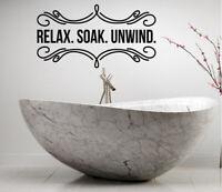 Relax Soak Unwind BATHROOM LETTERING QUOTE VINYL WALL DECAL Home Decor Sticker