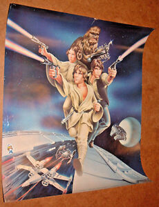 "VINTAGE 1978 STAR WARS POSTER 23"" x 18.5""; Luke Leia Chewbacca X-WIng TIE fighte"