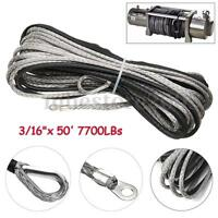 3/16''x 50' 7700LBs Synthetic Winch Line Cable Rope with Sheath ATV UTV Gray