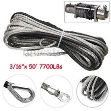 3/16 x 50 Inch 7700LBS Synthetic Winch Line Cable Rope with Sheath ATV UTV
