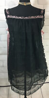 Vintage Leonora Babydoll Sexy Lingerie Black Lace Pink Ribbon Tie At Side