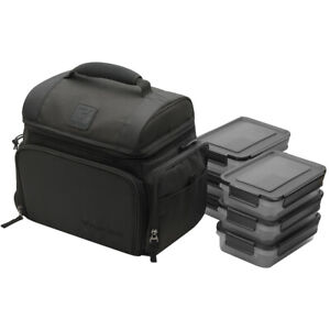 Performa 6 Meal Prep Management and Fitness Bag, Includes six pack of containers