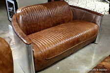 "62"" Aviator sofa loveseat vintage brown leather aluminum frame spectacular"