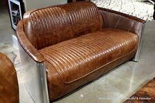 "62"" Aviator sofa loveseat vintage brown leather aluminum frame spectacular"