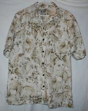 Caribbean Joe Let Go Linen Hawaiian Shirt Camp Lrg Free Shipping