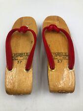 Klonks Sandals - Vintage Slip On Wedges - Hand Carved Wood Women's Size 7, Eu 37
