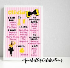 Emma Wiggle First Birthday Personalised Milestone Print Party Decoration Bow