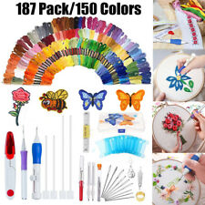 187in1 Magic DIY Embroidery Pen Knitting Sewing Tool Punch Needle 150 Threads
