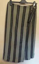 Marks & Spencer Collection UK12 EU40 US8 khaki and black stripe mock-wrap skirt