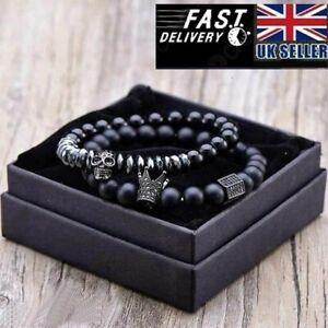 Matte Oxyn Stone Beads Skull Bracelet Set Crown Men Accessories