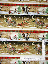 Christmas Fabric - Santa Sleigh Woodland Animal Stripe SPX Old World - Yard