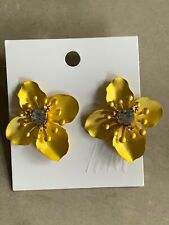 New H&M Crystal Tropical Flower Statement Fashion Earrings Gold