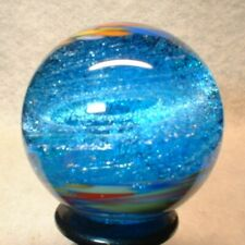 """WILLIS MARBLES BLUE COLOR ICE 1-1/8"""" HAND MADE GLASS MARBLE"""