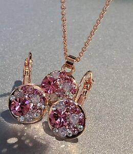 Large 15 MM Round Bella Pink Necklace Earrings Swarovski Crystal Rose Gold Bezel