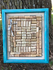 "Wine Cork Board 16"" x 19"" Wood Framed Message Bulletin Photo Board"