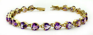 GENUINE 8.40 Cts AMETHYST BRACELET 10k GOLD * New with Tag ** FREE SHIPPING