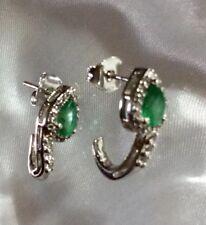 1.15 Ct, Zambian Emerald Earring, Topaz J Hoop Earrings In Sterling Silver