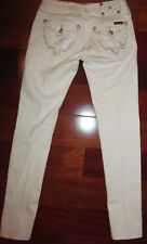 MISS ME SKINNY white stertchy silver metallic lace flap pockets jeans 27