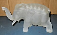 VTG FROSTED TIARA GLASS ELEPHANT WITH FLOWER FROG TOP OR CIGARETTE HOLDER