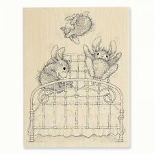 HOUSE MOUSE RUBBER STAMPS HAPPY HOPPERS BOUNCING BUNNIES NEW wood STAMP