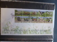 NEW ZEALAND 1995 FARM ANIMALS 10 STAMP BOOKLET FDC FIRST DAY COVER