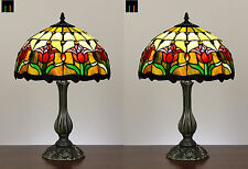Pair - JT Tiffany Tulip Stained Glass Bedside Side Table Lamp Light Leadlight