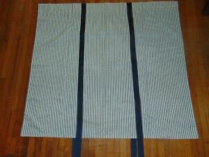 VTG Country Curtains Brand Tie-Up Panel Navy Blue Pillow Ticking Stripe 42W40L