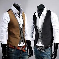 Mens Layered Waistcoat Formal Wedding Party Business Suit Vest Tuxedo Coat Top