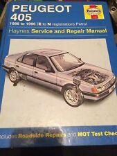 Haynes service & repair manual 1559 , Peugeot 405 1988 to 1996, e to n reg .1