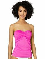 $60 Anne Cole Solid Twist Front Shirred Bandeau Tankini Top ONLY Pink Size XS