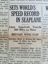 1931 Original Newspaper Stainforth Seaplane Speed World Record Britain Racing