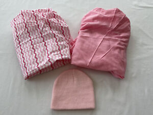 2 Pink (solid / chevron striped) bassinet fitted sheets + Newborn Knit Hat