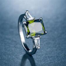 Fashion Wedding Rings for Women 925 Silver Jewelry Emerald Cut Peridot Size 6-10