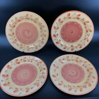 "Pier 1 Genoa Dinner Plates 11 1/4"" Hand Painted Italy Lot Of 4 Orange & Yellow"