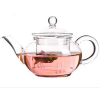 250ml Heat Resistant Handmade Clear Glass Herbal Tea Pot  With Infuser + Lid