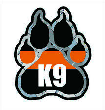 SAR Search and Rescue K9 Paw Decal K-9 Dog Unit Thin Orange Line Vinyl Sticker