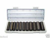 """12 PC 1/2"""" Drive Air Impact Deep Socket Set SAE 1/2IN DR IMPACT WRENCH SOCKETS"""