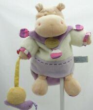 Doudou et Compagnie marionnette hippopotame Léo mauve beige  28 cm environ