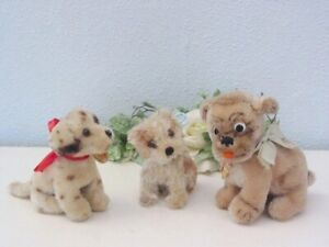 Lot of 3 STEIFF DOGS, 10/12  cm with ID