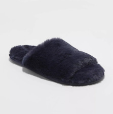 Slippers Navy Dark Blue Soft Fluffy Slide Open Toe Womens Size 7 8 Medium NWT