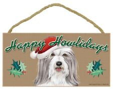 Bearded Collie Happy Howlidays Santa Hat Wood Funny Christmas Dog Sign Plaque Us