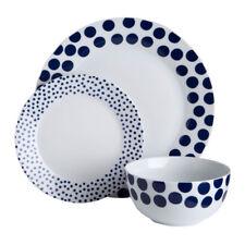 12pc Dinner Set Blue Spots Plates Bowls Porcelain Service Dining Set